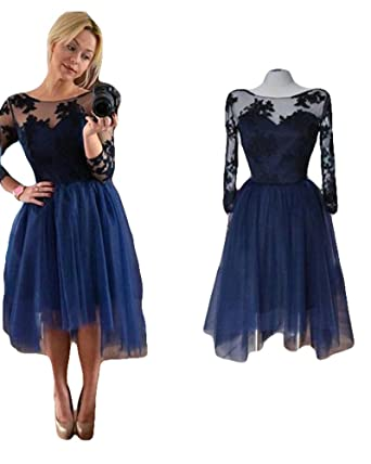 Amazon.com: Blevla Long Sleeves with Lace Appliques Tulle Chiffon ...