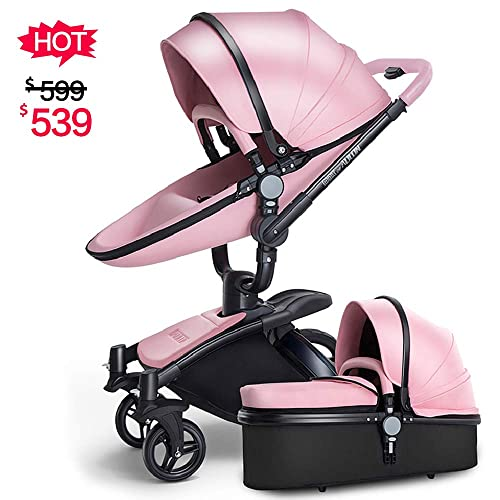 SpringBuds Infant Anti Shock Stroller Baby Pram Bassinet With Reclining Seat Combo Pink