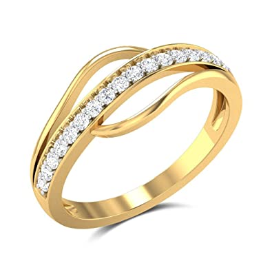 JewelsForum Channel Diamond Studded Wedding Band For Women In 14 Kt Solid Yellow Gold