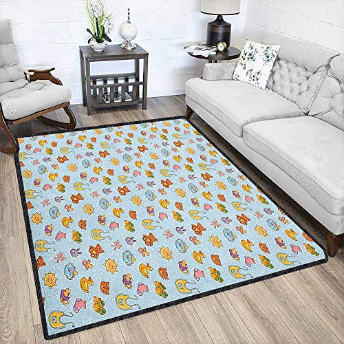 Baby Ultra Soft Indoor Area Rugs,Newborn Sun Teddy Bear Ribbon Feeder Pacifier Chick Kitty Cat Design Provides Protection and Cushion for Floors Pale Blue Cinnamon Apricot 67