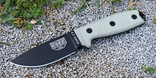 ESEE Knives ESEE-3MIL-P Military Plain Black Edge / w Green Canvas Micarta Handles by ESEE Knives (Image #2)