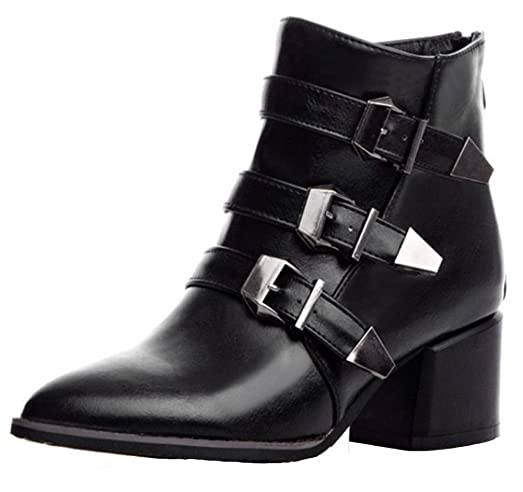 Women's Fashion Buckle Pointy Toe Block Mid Booties