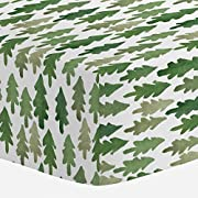 Carousel Designs Evergreen Forest Crib Sheet - Organic 100% Cotton Fitted Crib Sheet - Made in the USA