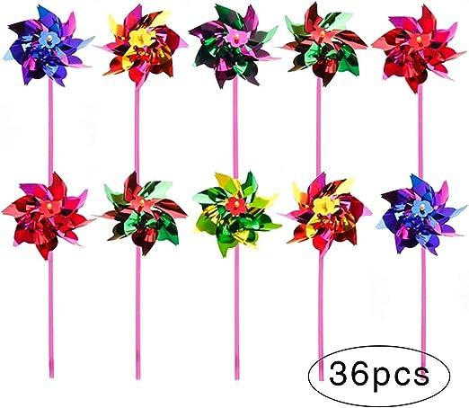 36 piezas de molinillo de plástico arcoíris, molino de viento para jardín de césped, molinillo de