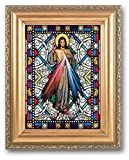 (23 6/18) Divine Mercy Stained Glass Art Gold Colored Frame 5x7 With Copyrighted Paul Herbert Blessing