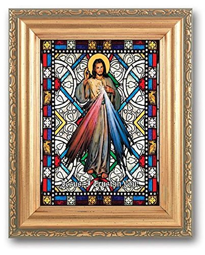 Divine Mercy Stained Glass Art Gold Colored Frame  With
