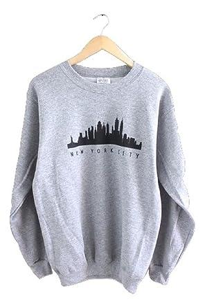 f655daad5f8b New York City Skyline Gray Graphic Crewneck Sweatshirt at Amazon Women s  Clothing store