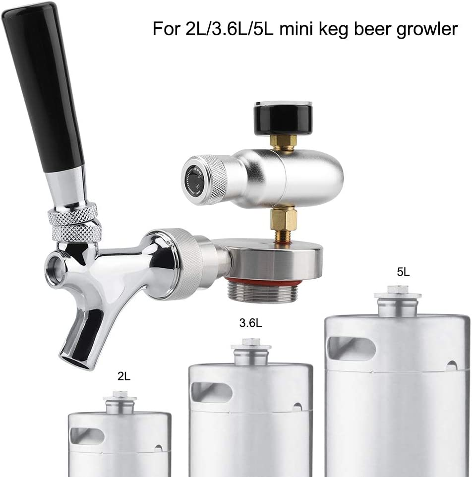 Grifo Dispensador de Cerveza,Kit de Dispensador de Grifo de Grifo de Lanza de Cerveza de Acero Inoxidable para 2L / 3.6L / 4L Mini Keg Beer Growler