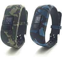 TERSELY Replacement Band Strap for Garmin Vivofit JR 3 Junior 2, Soft Silicone Metal Clasp Buckle Wrist Strap Watch Band Bracelet for VIVOFIT 3 JR Junior 2 1 Kids Fitness Tracker (Camo Pack of 2)