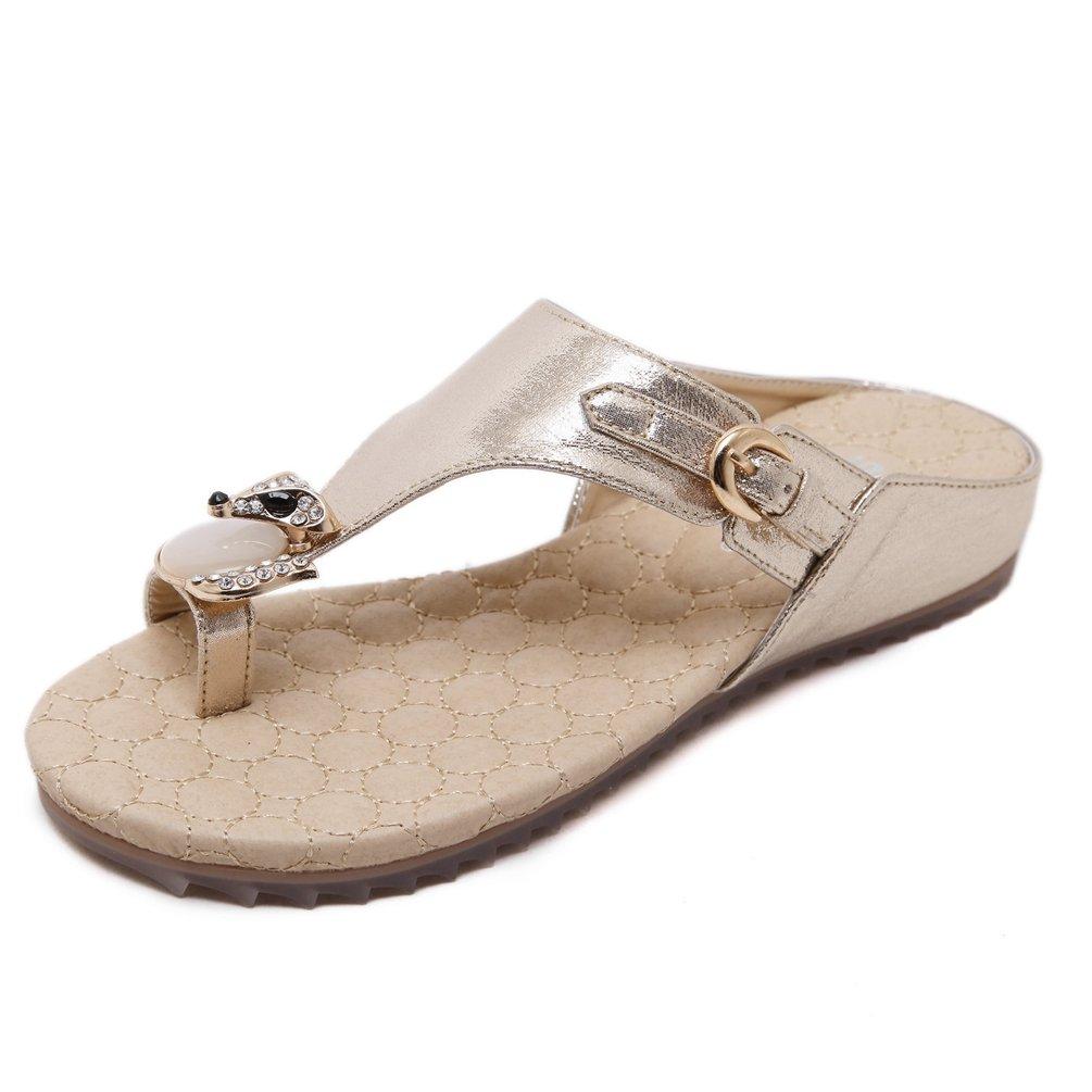 Offene Sandalen Flache Frauen Freizeitmode Schuhe Plateau Ferse Sandalen Bequemen Strand 35-42  36 EU|Gold