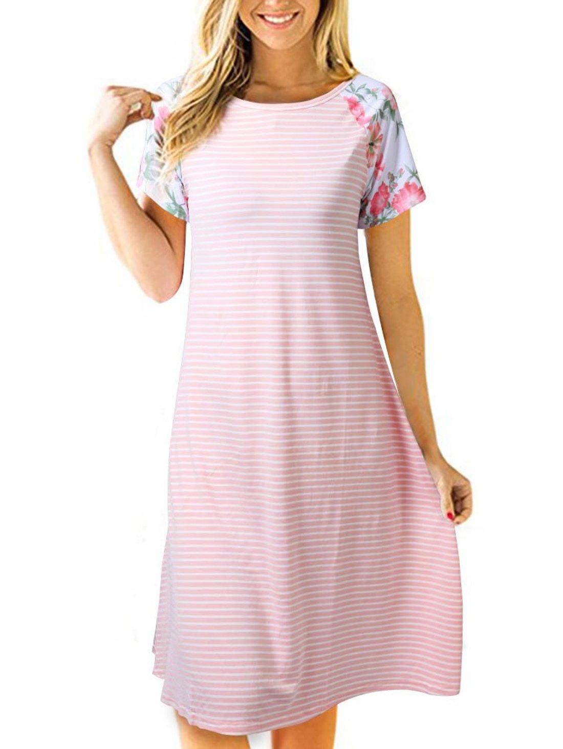 Uideazone Women Floral Striped Tunic Dress Summer Casual Crew Neck T Shirt Dress Pink