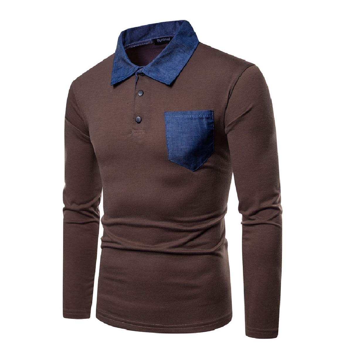 Abetteric Mens Autumn Lapel Polo Shirts Stitching Causal Long-Sleeve Tees Top