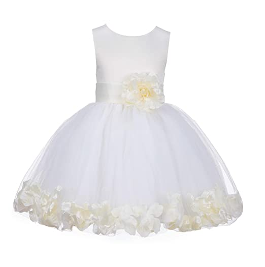 a810bc22562 Image Unavailable. Image not available for. Color  Wedding Pageant Rose  Petals Flower Girl Dress ...