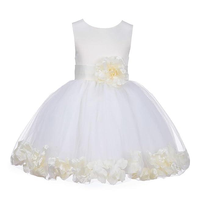 Amazon.com: Boda Pageant pétalos de rosa Flor Niña Vestidos ...