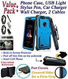 Value Pack + for 6'' ZTE BLADE Z MAX bladeZmax Case Screen Protector Phone Case 360° Cover Clip Holster Kick Stand Armor Grip Shock Bumper (Blue)