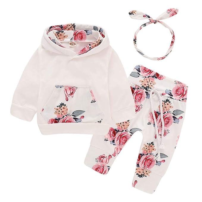 d4a5caedddcb PigMaMa Infant 3 Piece Set Baby Girl Long Sleeve Flower Print Hoodie Shirt  Tops Floral Pant
