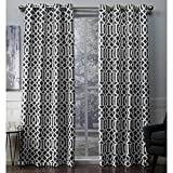Exclusive Home Curtains Scrollwork Woven Blackout Grommet Top Panel Pair, Black Pearl, 52x84, 2 Piece