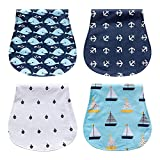 Baby Burp Cloth,Aolvo Baby Bibs 100% Organic Cotton Triple Layer Ultra Absorbent 4 Piece Gift Set,waterproof,Soft,Breathable, Safe,for Girl Boy Infant