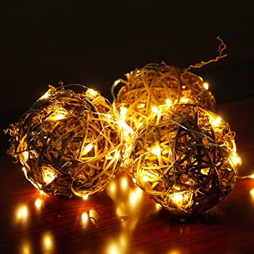 CYLAPEX Pack of 6 LED Starry String Lights with 20 Micro LEDs on 3.3feet/1m Silver Coated Copper Wire, Fairy Lights Battery Powered by 2x CR2032(Incl), for Party Christmas Table Decorations Warm White by CYLAPEX (Image #2)
