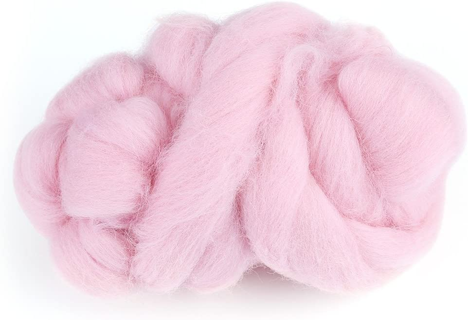 8Colors 55g Colored Needle Felting Wool Roving Spinning/Sewing Trimming Handiwork Material Beige