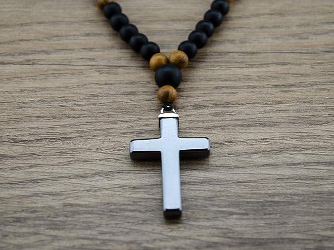 Herren Halskette mit H/ämatit Kreuz Vatikan Rosenkranz Freundschaftsgeschenk zum Strand oder Fitnessstudio zu gehen