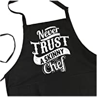 Never Trust a Skinny Chef - BBQ Grill Apron - Funny Apron For Dad - 1 Size Fits All Chef Apron High Quality Poly/Cotton…
