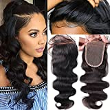 Fushen Hair Body Wave Lace Closure Pre-Plucked Front Lace Closures Free Part Human Hair Closure with Baby Hair (16 Inches)