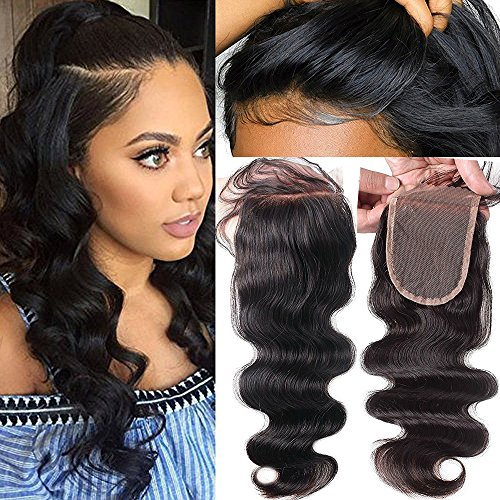 Fushen Hair Body Wave Lace Closure Pre-Plucked Front Lace Closures Free Part Human Hair Closure with Baby Hair (8 Inches)