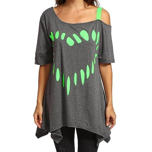 Camisetas Mujer Verano Blusa Mujer Elegante Camisetas Manga Corta Algodón Camiseta Mujer Camisetas 2018 ❤ Manadlian: Amazon.es: Ropa y accesorios