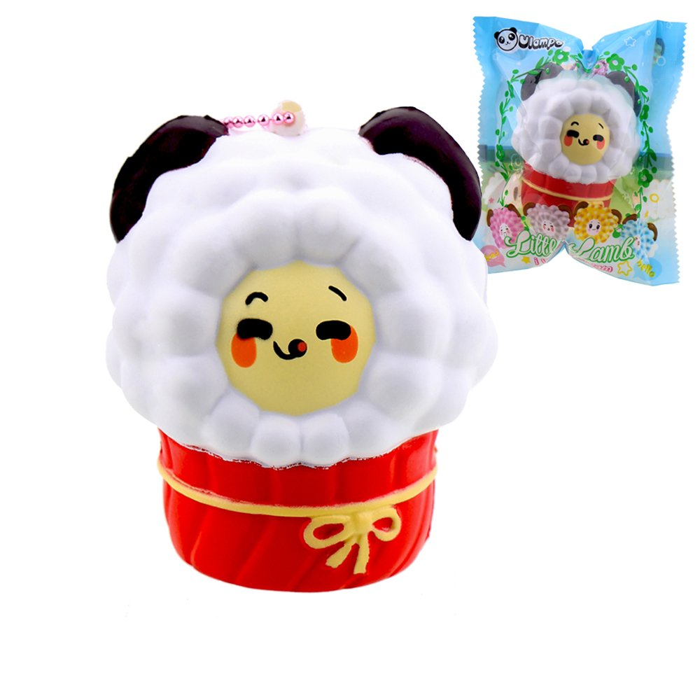VLAMPO Squishy Stress Giocattoli Squishies Soft Slow Rising Scented Cup Sheep 3.14 '' (Bianco)