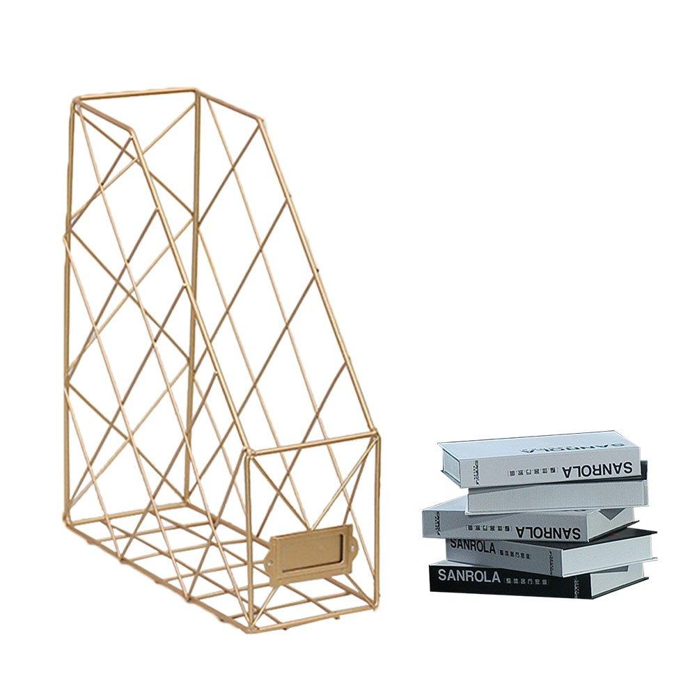 Feiledi Trade Single Grid Iron Storage Rack Shelf Desktop Book Magazine Storage Organizer Desktop File Management Rack