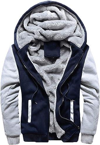 Liangzhu Homme Chaud Manches Longues Sweats Épaisse Veste À Capuche Doublée Faux Polaire Manteaux Doux Hoodie Blousons Sweat Shirts