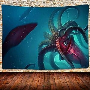 Ocean Animal Tapestry, Deep Sea Squid Octopus Tapestry Wall Hanging, Bedroom Living Room Home Decor 80X60 Inches GTLSUH214