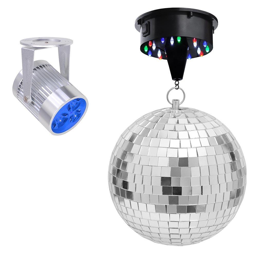 Yescom 12'' Mirror Disco Ball w/Rotating Motor & 3W 3 Blue LED Pinspot Spot Light Kit Home Party Club Lighting