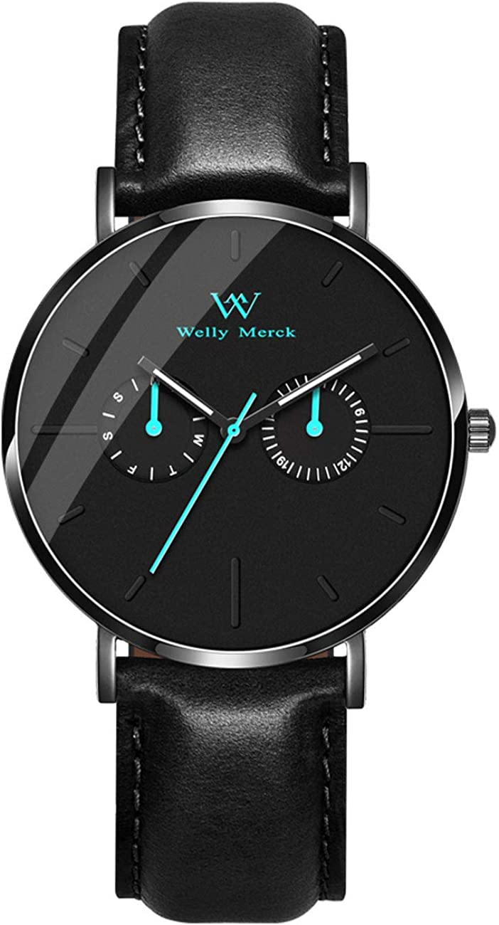 Welly Merck Men Watch Waterproof with Luminous Hands 40mm Minimalist Watch Case with Two Small Subdials Interchangeable Strap,Custom Watches
