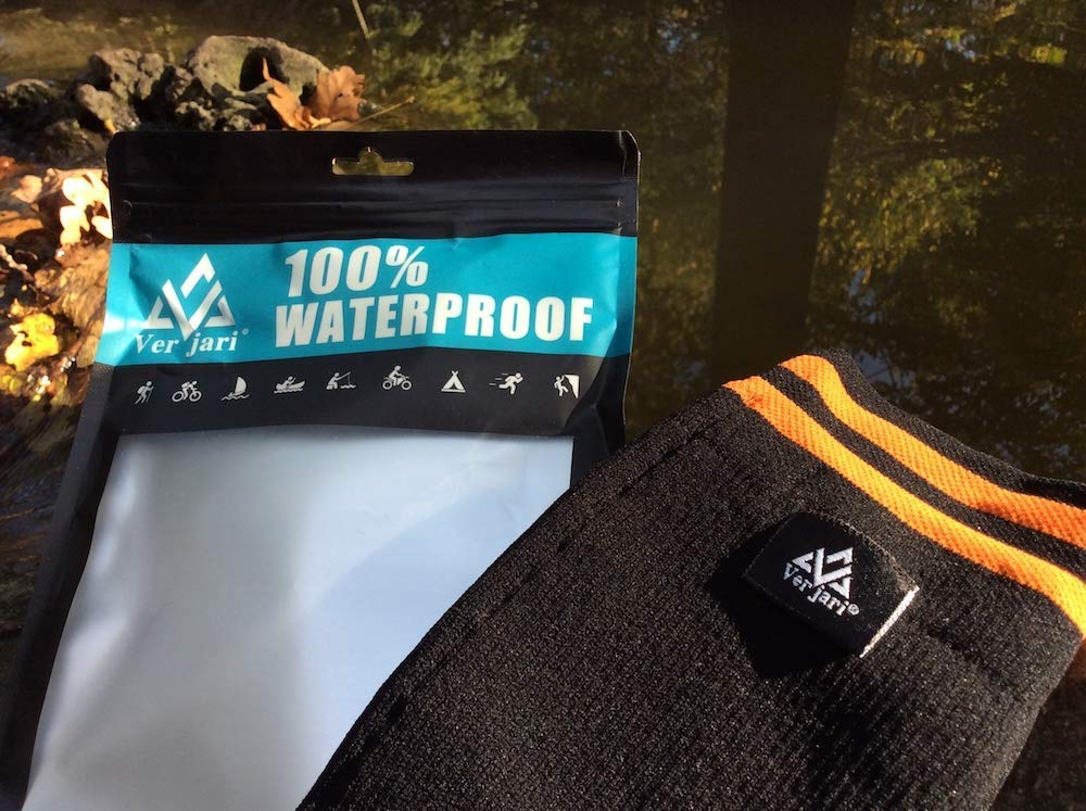 Impermeable VER JARI Calcetines Impermeables Verjari Altura Media de la Pantorrilla Impermeable Interior Merino Fleece Negro-Naranja