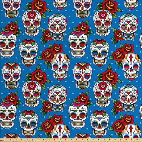 Ambesonne Sugar Skull Fabric by The Yard, Retro Style Mexican Cultural Pattern on Polka Dots Rose Bouquets Skeletons, Decorative Fabric for Upholstery and Home Accents, 3 Yards, Multicolor