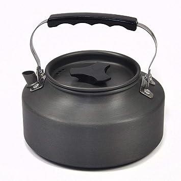 Cjji Ollas y sartenes para acampar, utensilios de cocina para acampar, tetera al aire libre 1.1L Tetera Cafetera ...
