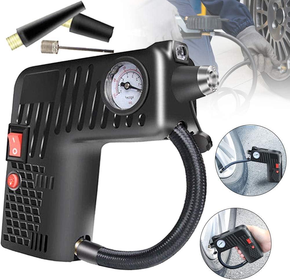 Grenzen Pin Attachments /& Auto-Adapter-Sicherheits-Hammer Hieefi luftkompressor LED-Licht bewegliche reifenf/üller Auto-Reifen-Pumpe 12V mit Handluftkompressor Pumpe
