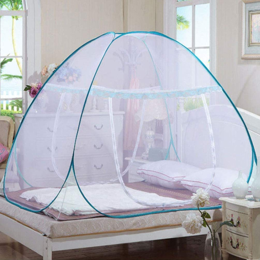 NSHUN Anti Mosquito Nets Pop Up Mosquito Net Bed Tent with Bottom Mosquito Nettings Folding Portable for Baby Toddlers Kids Adult (Color : Blue, Size : 1.2m)