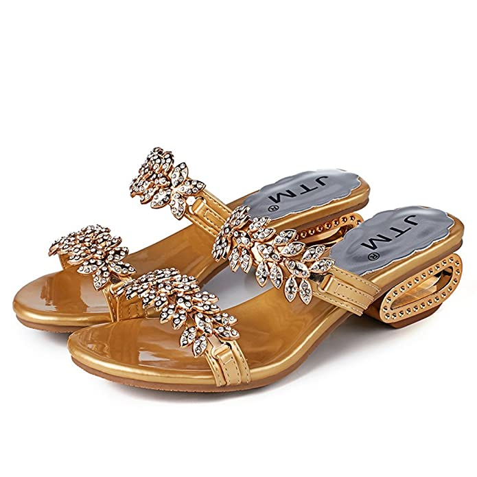 561ab462f0d3 2019 Summer New Women s PU Rhinestones Chains Flat Gladiator Open Toe Mid  Heel Sandals Wedding Shoes Gold Color