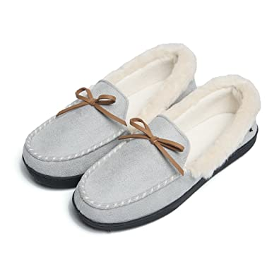 70034c2188e1 FOOTTECH Women Moccasins Slippers Faux Fur Lined Suede and Memory Foam