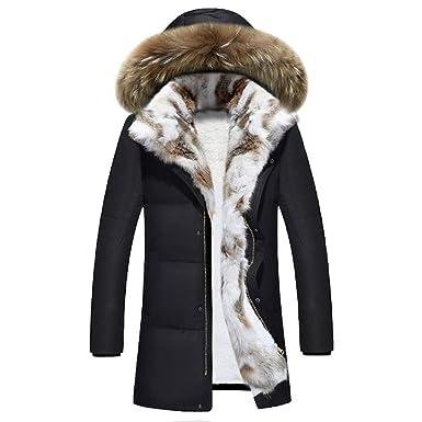 391857901c7 MODOQO Winter Warm Coat for Men Plus Size Casual Zipper Hooded Jacket  Overcoat(Black