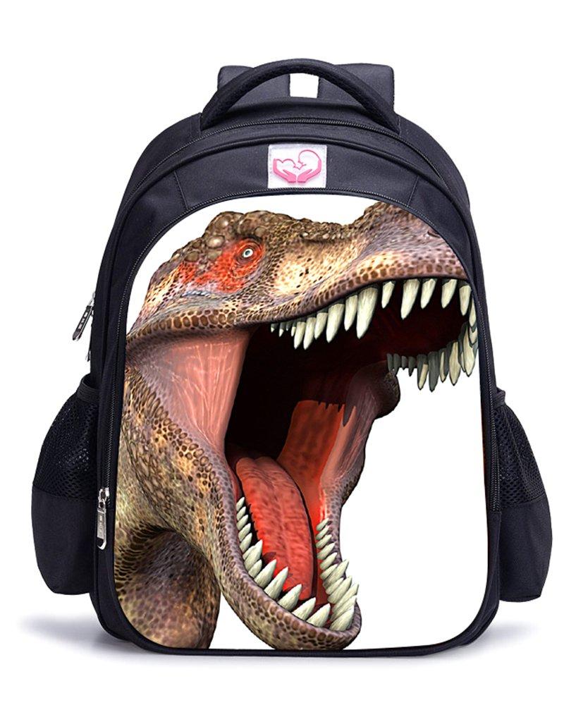 Memoryee 3D Dinosaure Impression réaliste Sac à Dos pour Enfants école Maternelle école Primaire Toile Sac à Dos Ordinateur Portable Cartable Sac de randonnée 32 x 17 x 42 cm (Dinosaur01)