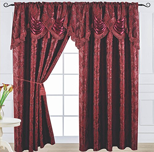 Venice Collections Luxury Jacquard Curtain Panel with Attached Waterfall Valance, 54 by 84-Inch Arlene Burgundy For Sale