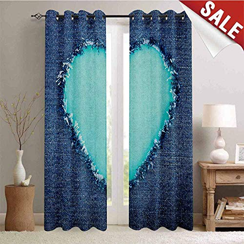 Navy and Teal Thermal Insulating Blackout Curtain Ripped Denim Jean Fabric Image Heart Shape Love Romance Valentines Day Blackout Draperies for Bedroom W108 x L96 Inch Navy Blue Seafoam