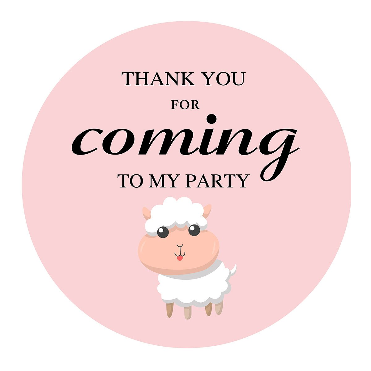 MAGJUCHE Pink Little Sheep Thank You Stickers, Farm Animal Lamb Girl Baby Shower or Birthday Sticker Labels, 2 Inch, 40-Pack