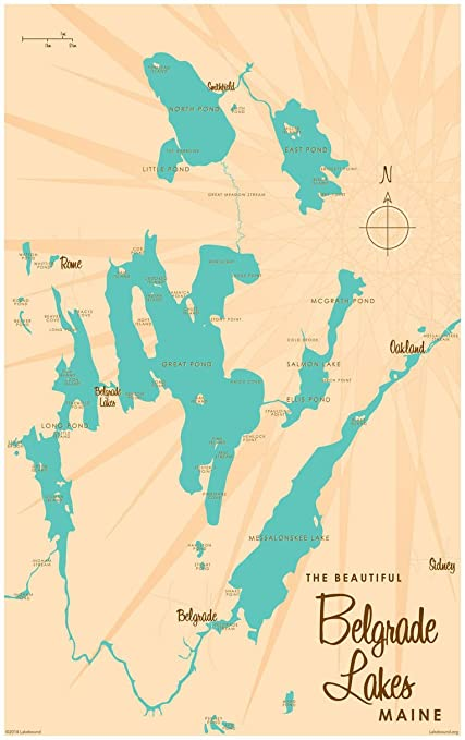 Map Of Maine Lakes.Amazon Com Belgrade Lakes Maine Map Vintage Style Art Print