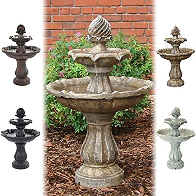 Sunnydaze Two Tier Solar-on-Demand Outdoor Water Fountain, Color Options Available - Please Choose