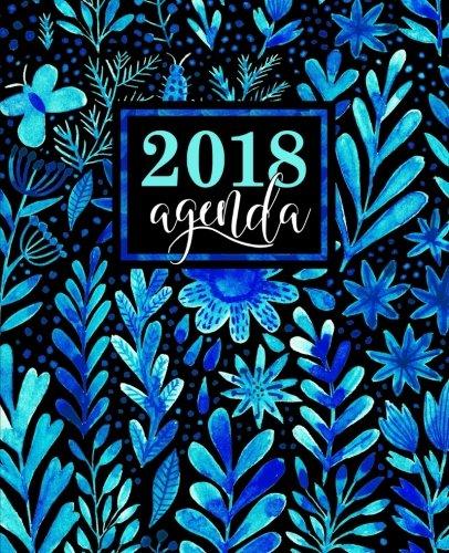 Agenda: 2018 Agenda semana vista español : 190 x 235 mm, 160 g/m² : Bonitas flores azules en acuarela (Calendarios, agendas...